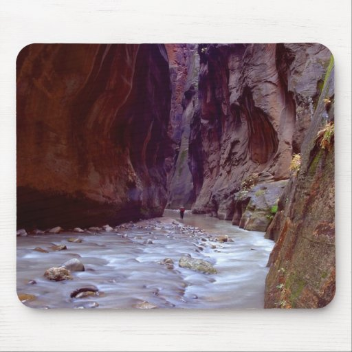 Zion Narrows Hiking Through The River In Zion Narr Mouse Mat