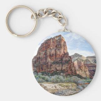 Zion National Park Angels Landing - Digital Paint Basic Round Button Keychain