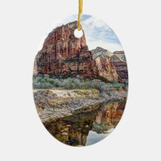 Zion National Park Angels Landing - Digital Paint Ceramic Oval Ornament