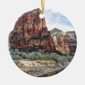 Zion National Park Angels Landing - Digital Paint Round Ceramic Ornament