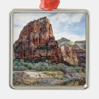 Zion National Park Angels Landing - Digital Paint Silver-Colored Square Ornament