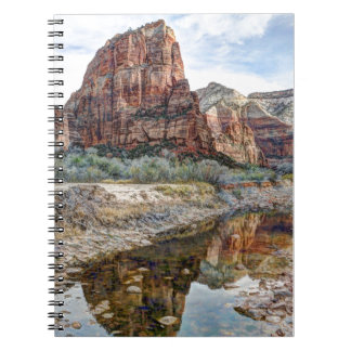 Zion National Park Angels Landing - Digital Paint Spiral Note Book