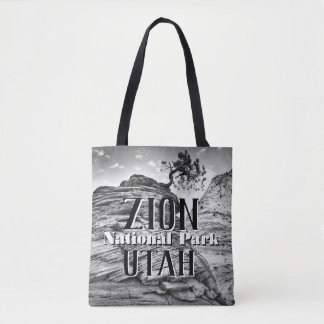 Zion National Park Bonsai Tree Black and White Tote Bag