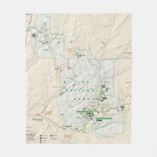 Zion National Park (Utah) map fleece blanket