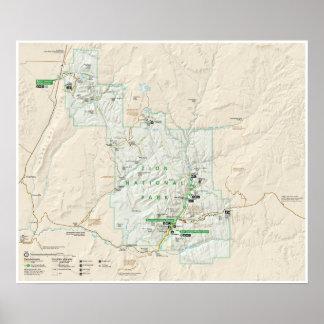 Zion National Park (Utah) map poster