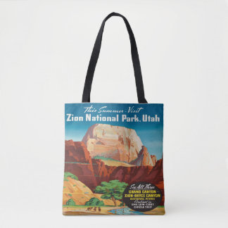 Zion National Park Utah Vacation Vintage travel Tote Bag