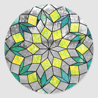 Zion - Turquoise and Lime Green Classic Round Sticker