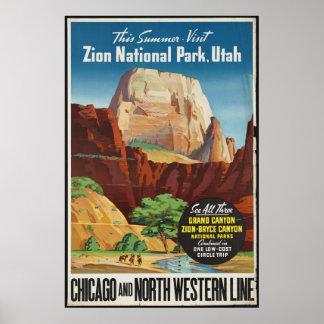 Zion Utah Vintage Travel Poster Ad Retro Prints