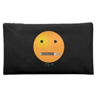 Zip It Happy Face Smiley - Black Background Makeup Bag