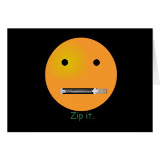 Zip It Happy Face Smiley - Black Background Greeting Card