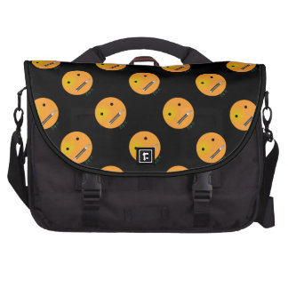 Zip It Happy Face Smiley - Black Background Laptop Bags