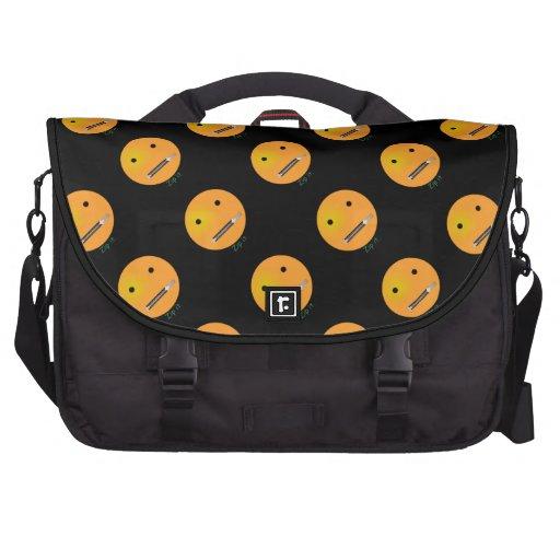 Zip It Happy Face Smiley - Black Background Laptop Bag