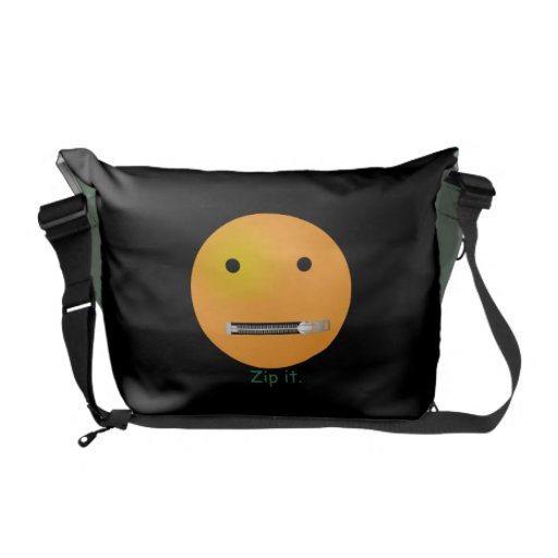 Zip It Happy Face Smiley - Black Background Courier Bags