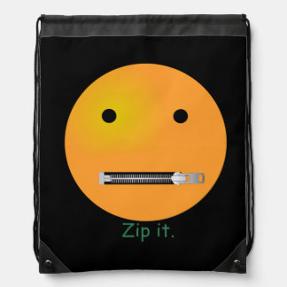 Zip It Happy Face Smiley - Black Background Drawstring Backpacks