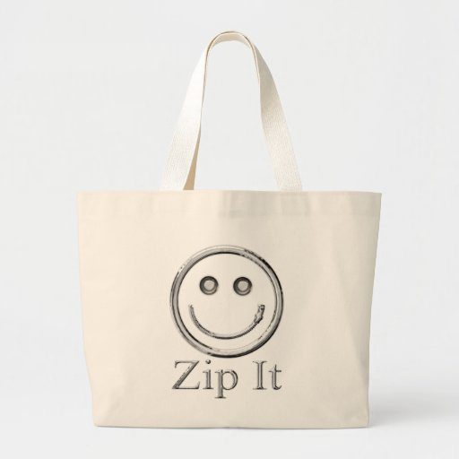 Zip It - Smiley (curve) Tote Bags