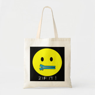 'zip it'  SMILEY FACE TOTE BAG