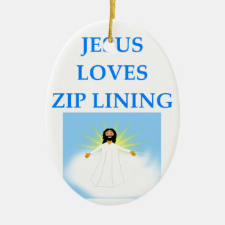 zip lining ceramic oval ornament