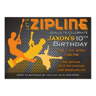Ziplining Boys Birthday Invitation - Let's Zipline