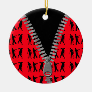 Zipped Up Zombies Everywhere Ceramic Ornament