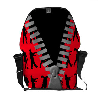 Zipped Up Zombies Everywhere Messenger Bags