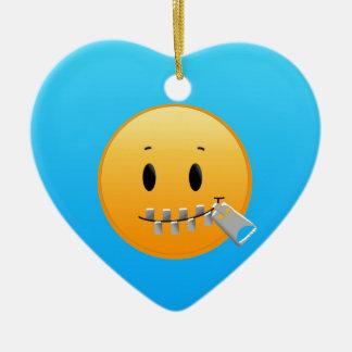 Zipper Emoji Ceramic Ornament