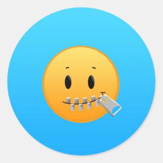 Zipper Emoji Classic Round Sticker