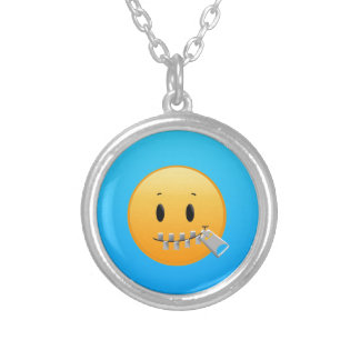 Zipper Emoji Silver Plated Necklace