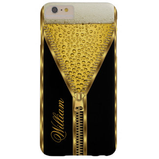 Zipper Gold Beer Drink Black and Gold Barely There iPhone 6 Plus Case