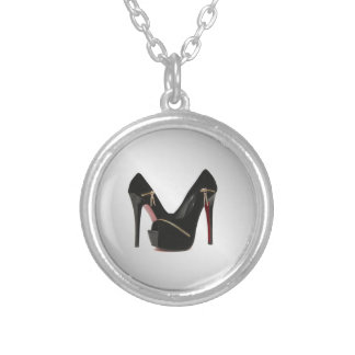 Zipper Heels Silver Plated Necklace