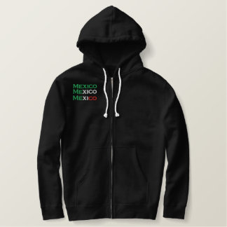 Zipper, Mexico, tri-color embroidery Embroidered Hoodie