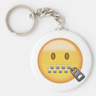 Zipper-Mouth Face Emoji Keychain