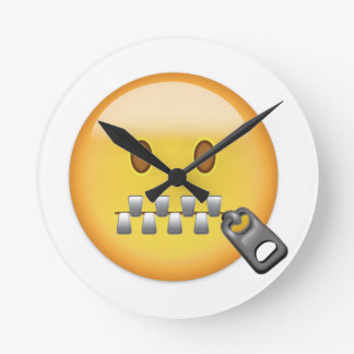 Zipper-Mouth Face Emoji Round Clock