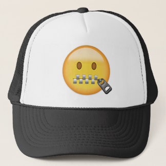Zipper-Mouth Face Emoji Trucker Hat