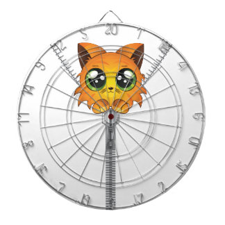 Zipper with red kitten dartboard with darts