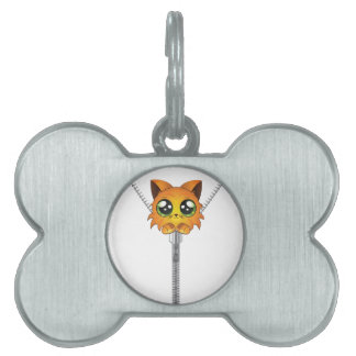 Zipper with red kitten pet tags