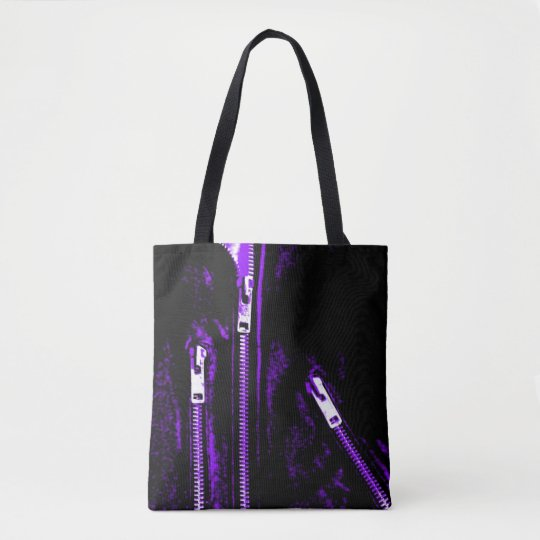 Zips Purple print all over tote bag