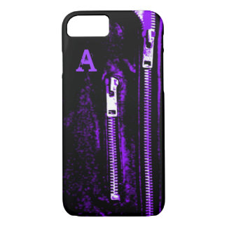 Zips Purple print Monogram iPhone 7 case