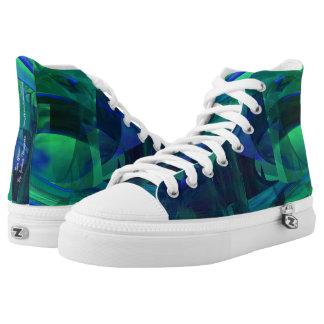 "Zipz high top shoes ""Sea Glass"" Abstract, Green"
