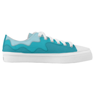 Zipz Low Top Turquoise Aqua Abstract Waves Design