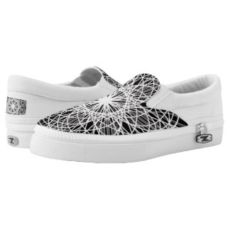 Zipz Slip On Kaleidoscope Art Black and White