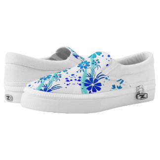 ZipZ Slip On Shoes-Blue Flowers