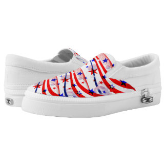 ZipZ Slip On Shoes-Patriotic Stars  Stripes