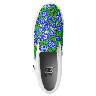 "Zipz Slip On Shoes (""Wild Flowers"" - Blue)"
