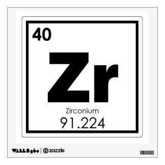 Zirconium chemical element symbol chemistry formul wall decal