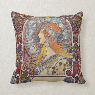 Zodiac and Her Tiara Alphonse Mucha Fine Art Throw Pillow