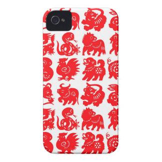 zodiac animals red on white blackberry case