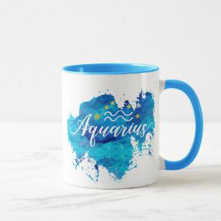 Zodiac Aquarius Blue Watercolor Gold Stars Mug