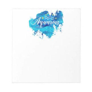 Zodiac Aquarius Blue Watercolor Gold Stars Notepad