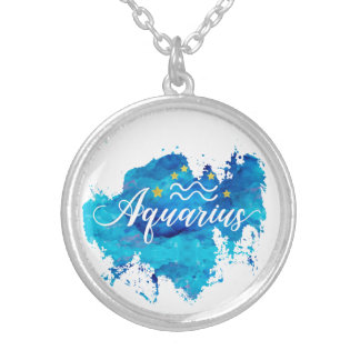 Zodiac Aquarius Blue Watercolor Gold Stars Silver Plated Necklace
