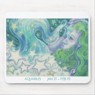 Zodiac Aquarius mousepad white border